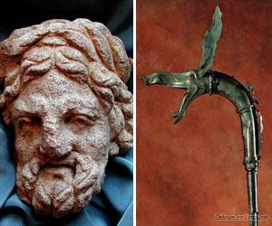 Tête sculptée et carnyx découverts en 2003 et 2004