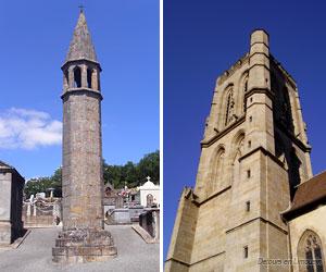 Lanterne des morts et église du Moutier
